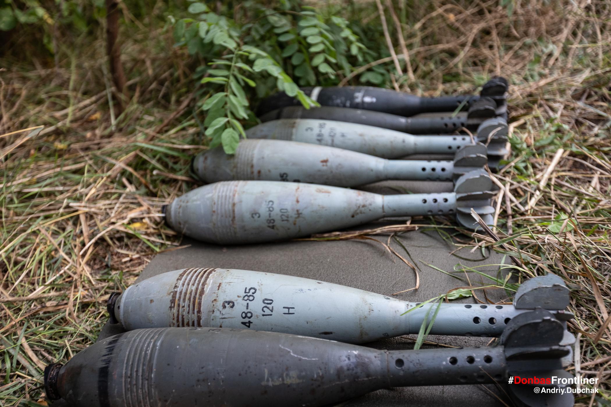Мінометні міни 120 мм. Бойове тренування 503-го батальйону морської піхоти на Приазов'ї, липень 2021 року